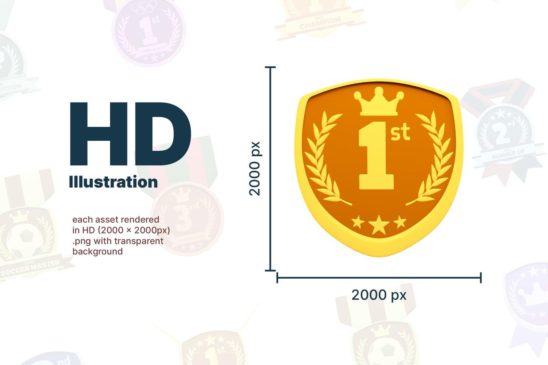 时尚高端3D立体运动奖牌图标icon大集合插图1