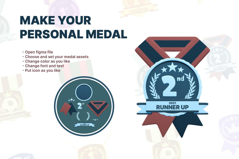 时尚高端3D立体运动奖牌图标icon大集合插图2