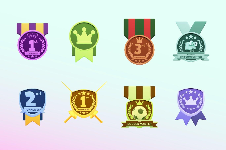 时尚高端3D立体运动奖牌图标icon大集合插图3