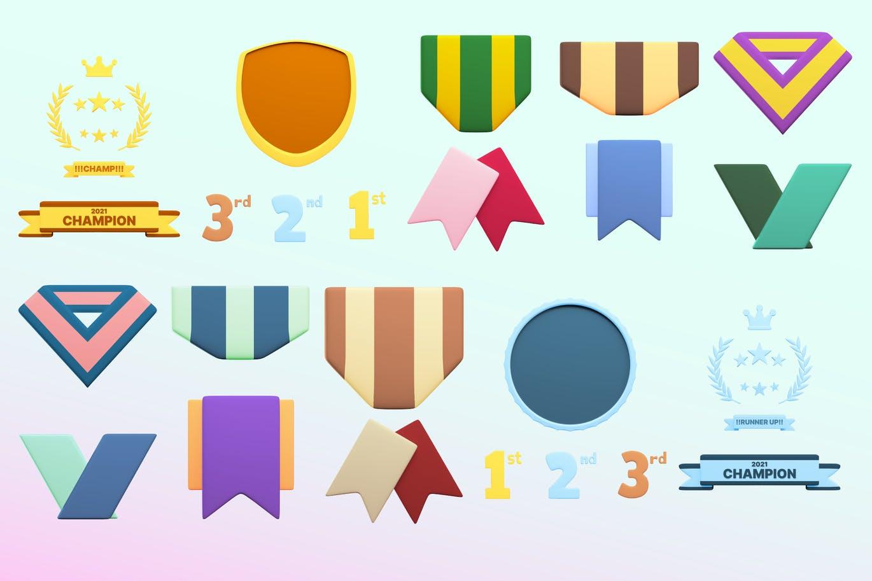 时尚高端3D立体运动奖牌图标icon大集合插图4