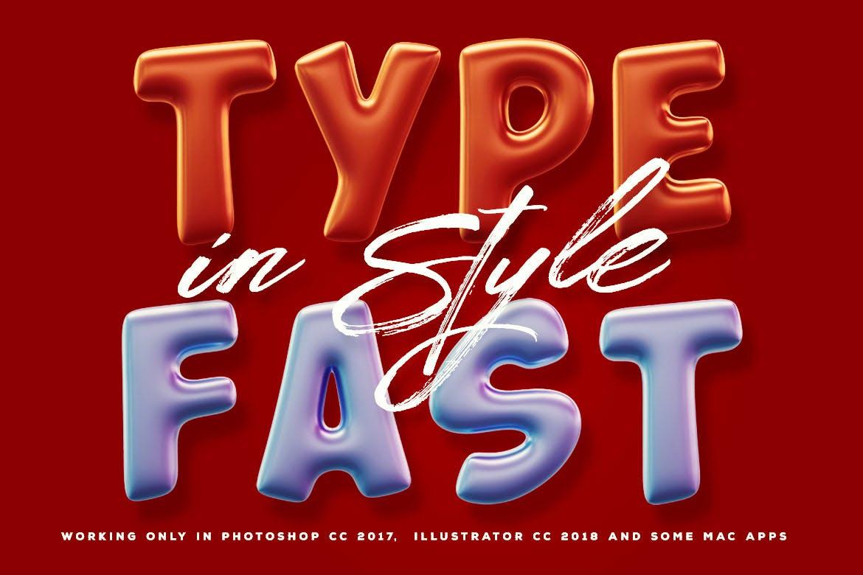 Fonts   生日派对常用逼真彩色气球质感无衬线英文字体设计插图3