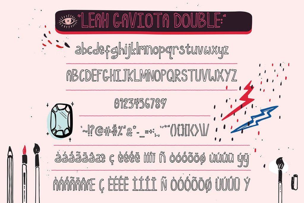 Fonts   多种多样混合手写涂鸦多重网络自然笔触手绘重影字形文字衬线英文字体下载插图4