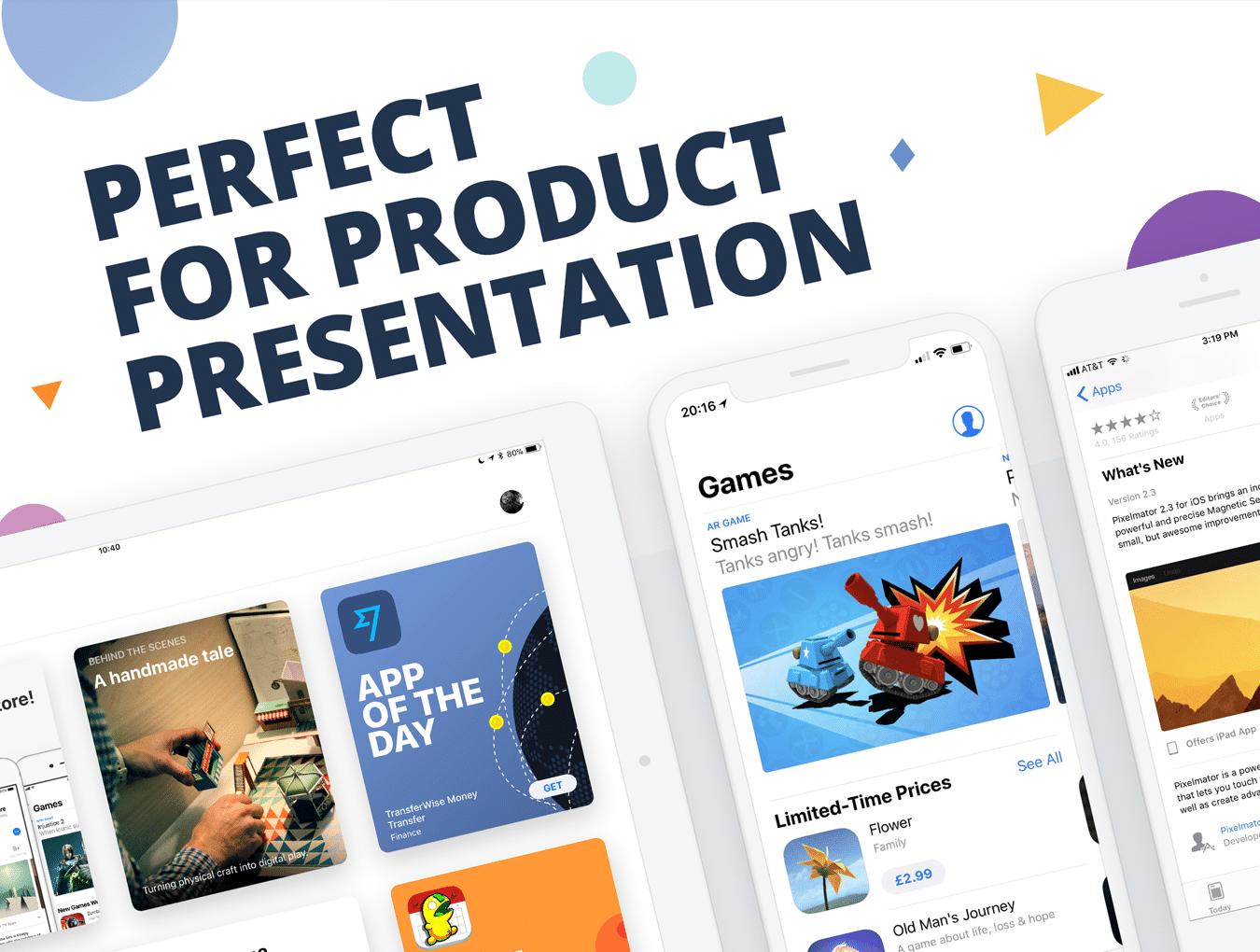 设计师必备的完美的UI设计作品展示模板套装[PSD,for iPhone X,iPhone 8,iPad等]插图2