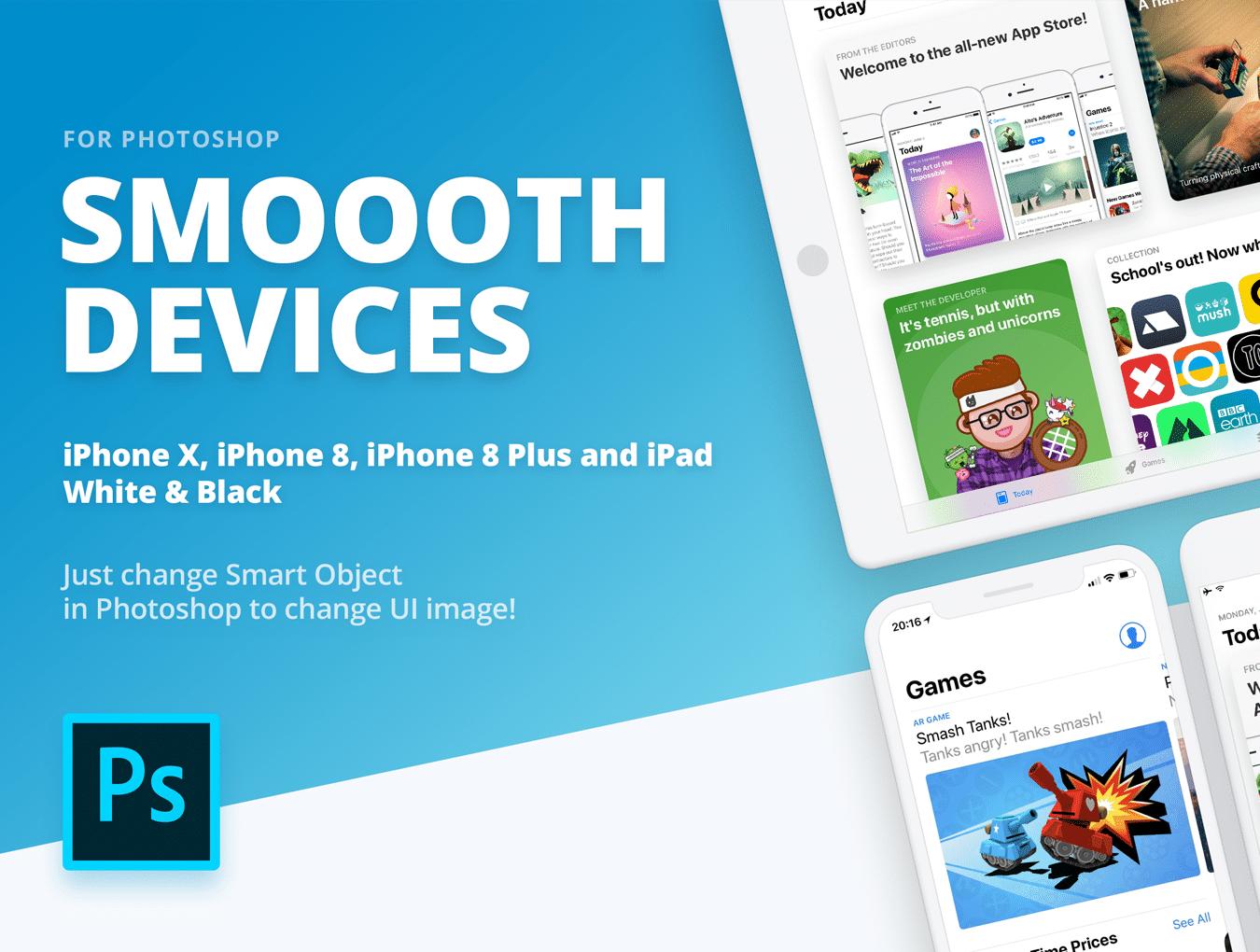 设计师必备的完美的UI设计作品展示模板套装[PSD,for iPhone X,iPhone 8,iPad等]插图7