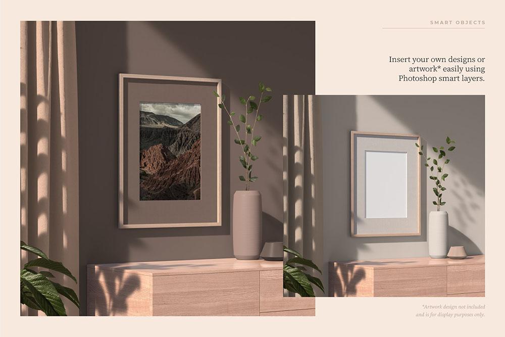 室内场景海报框架样机 (psd)插图2
