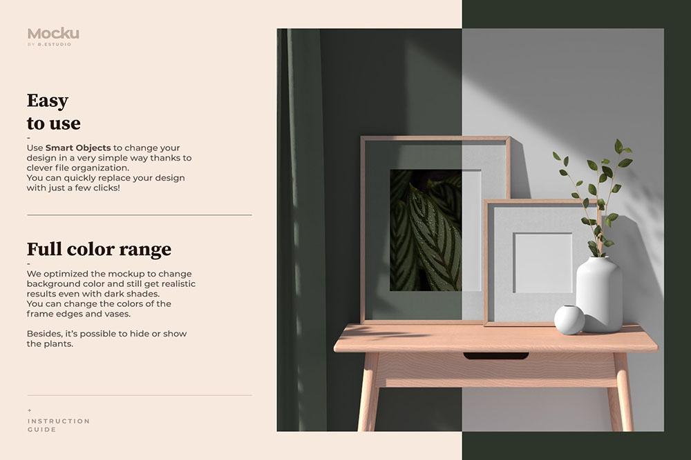 室内场景海报框架样机 (psd)插图1