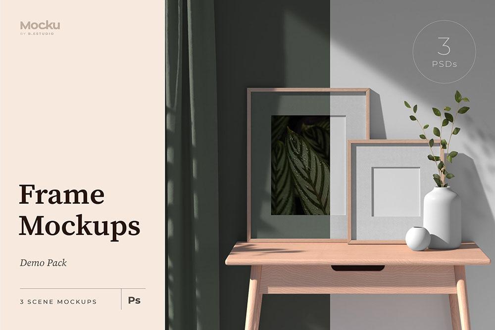 室内场景海报框架样机 (psd)插图